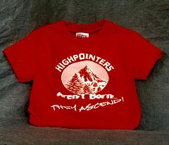 "Red T-Shirt with slogan ""Highpointers Aren't Born -They Ascend"""